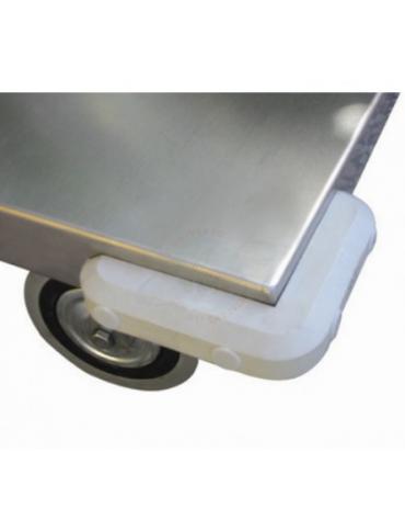 Carrello a 2 piani lisci in acciaio inox AISI304 spessore lamiera 15/10 - 2 ruote girevoli, 2 fisse Ø cm 12,5 - cm 60x103x87h