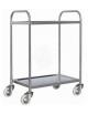 Carrello di servizio a 2 ripiani stampati in acciaio inox, 4 ruote in nylon girevoli Ø cm 10 - cm 41x55x90,5h