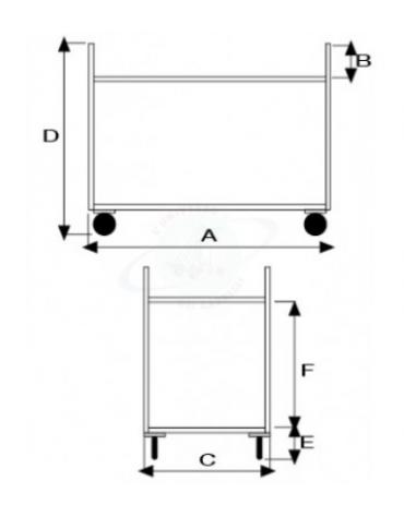 Carrello di servizio a 3 ripiani in acciaio AISI 304, 4 ruote in gomma girevoli Ø cm 12,5 - cm 103x57x97h