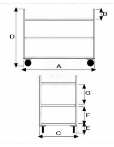 Carrello di servizio a 3 ripiani in acciaio inox, 4 ruote in nylon girevoli Ø cm 10 - cm 41x65x90,5h
