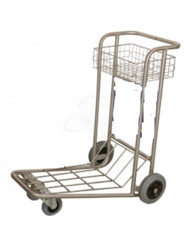Carrello portabagagli compenetrabile in acciaio inox piano in rete e cestello inox 2 ruote fisse e 2 girevoli - cm 62x95x100h