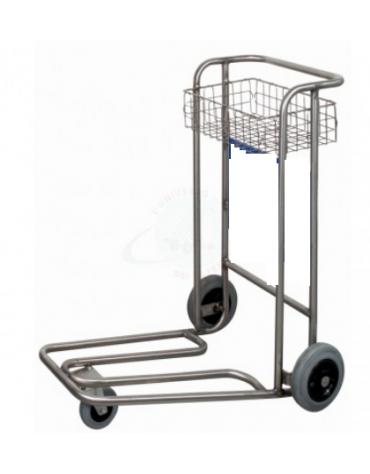 Carrello portabagagli con cestello, compenetrabile in acciaio inox, struttura in tubolare a 3 ruote - cm 62x95x100h