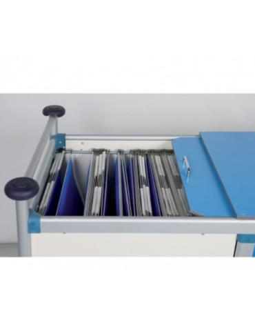 Carrello porta radiografie e cartelle cliniche 40 posti 4 ruote girevoli gomma Ø cm 12 - cm 115x66x95h