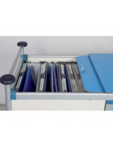 Carrello porta radiografie e cartelle cliniche 30 posti in alluminio anodizzato 4 ruote girevoli Ø cm 12 - cm 115x66x95h