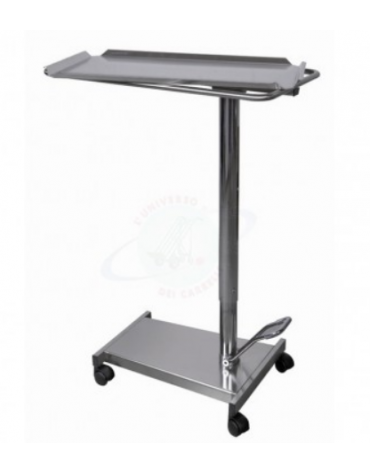 Carrello servitore per sala operatoria in acciaio INOX AISI 304, sollevamento idraulico pompa a pedale - cm 70x45x85/120h
