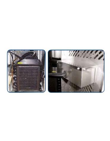 Banco refrigerato pizzeria 2 porte + cassettiera per panetti con sovrastruttura refrigerata GN1/3 - cm 202,5x80x139h