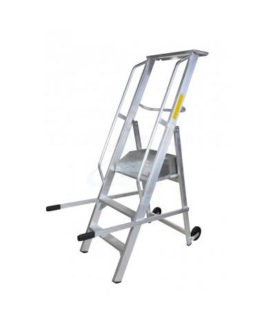 Scala a palchetto a 3 gradini con pedana di lavoro altezza piano cm 75
