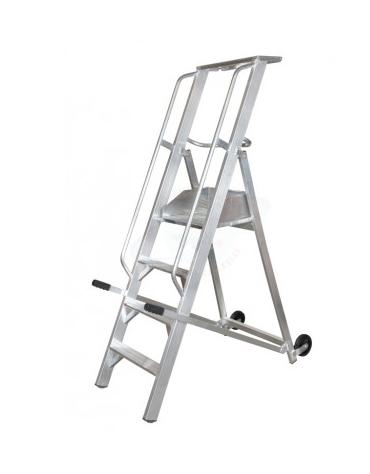 Scala a palchetto a 4 gradini con pedana di lavoro 3+1 - altezza piano cm 100