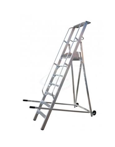 Scala a palchetto a 7 gradini con pedana di lavoro 6+1, altezza piano cm 175