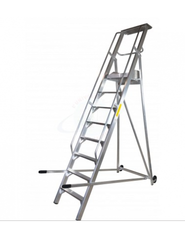 Scala a palchetto a 10 gradini con pedana di lavoro 9+1 - altezza piani cm 250