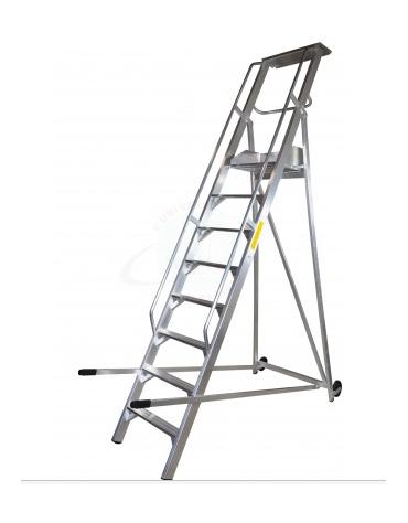 Scala a palchetto a 12 gradini con pedana di lavoro 10+1 - altezza piano di lavoro cm 300