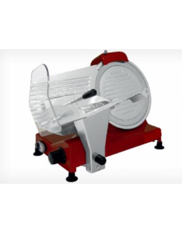 Affettatrice a gravità in alluminio pressofuso, affilatoio fisso - colore rosso mm 390x480x350h