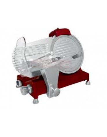 Affettatrice a gravità in alluminio pressofuso, affilatoio fisso - colore rosso - mm  390x480x350h
