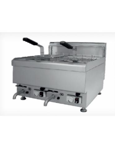 Friggitrice a gas da banco in acciaio inox - 2 vasche, capacità olio: 10 + 10 Lt.
