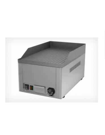 Griglia elettrica in acciaio inox con piano di cottura rigata in ghisa sabbiata mm 325x480