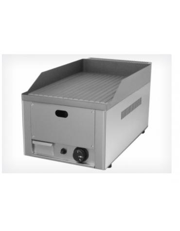 Griglia a gas in acciaio inox, piano di cottura rigato mm  325x480, piastra in ghisa sabbiata