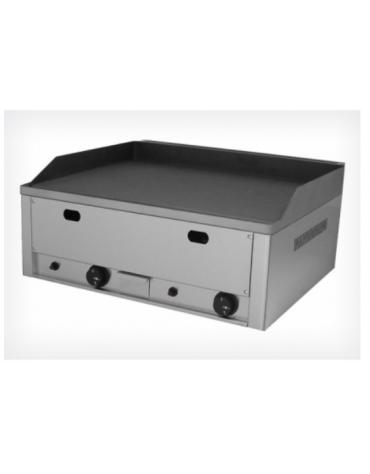 Griglia a gas in acciaio inox, piano di cottura liscio mm 650x480, piastra in ghisa sabbiata