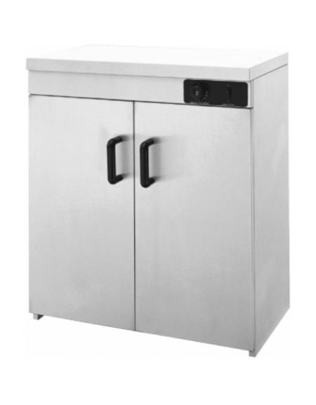 Mobiletto scaldapiatti in acciaio inox a 2 ante - capacità 110/120 piatti - Dim. interne mm 730x425x755h