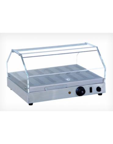 Vetrina calda da banco con basamento in acciaio inox - piano singolo