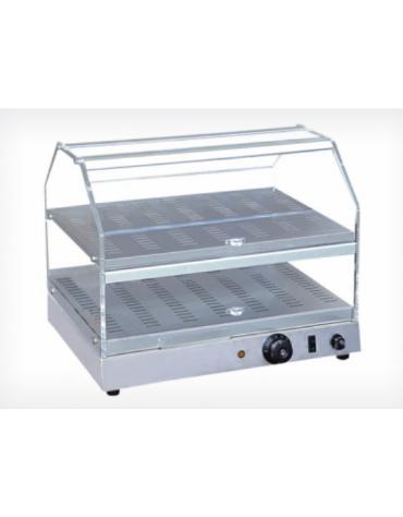 Vetrina calda da banco con basamento in acciaio inox - piano doppio