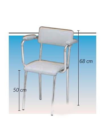 Sedia - seduta imbottita con braccioli in acciaio bianco verniciato con schienale