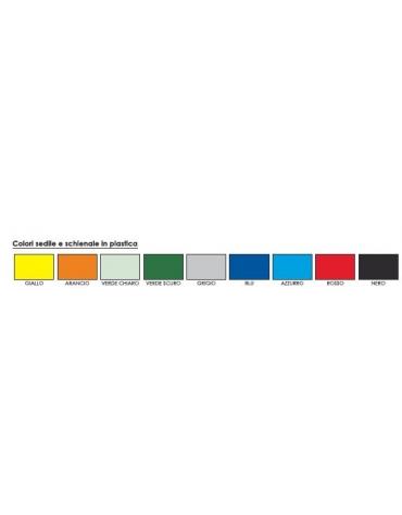 Sedia fissa di attesa o conferenza in plastica indeformabile - vari colori - cm 53x63x78h
