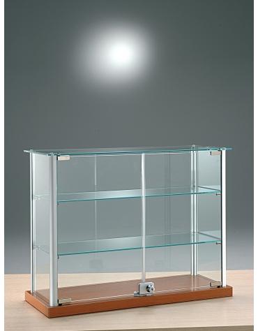 Vetrina da banco con profili in alluminio per briochesbanco - senza luci - cm 65 x 25 x 50h