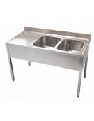 Lavello 2 vasche + gocciolatoio Dimensioni cm.180x60x85h
