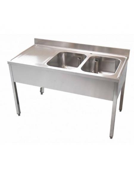 Lavello 2 vasche + gocciolatoio Dimensioni cm.140x60x85h