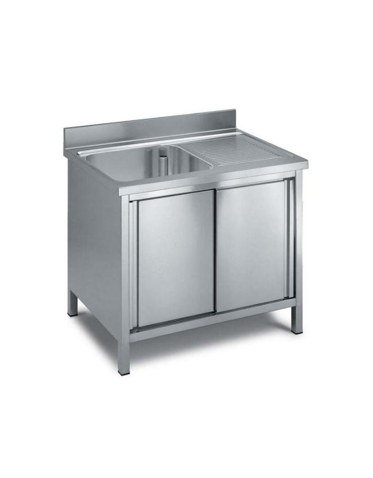 lavello armadiato inox 1 vasca + gocciolatoio dimensioni cm