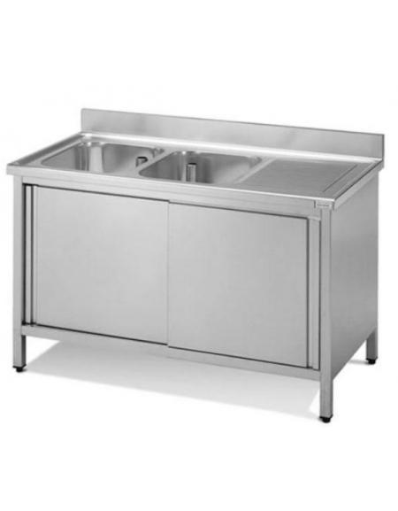 Lavello 2 vasche + gocciolatoio Dimensioni cm.180x60x90h