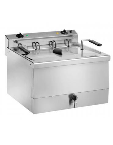 Friggitrice elettrica da banco in acciaio inox con rubinetto - 1 vasca - 9 KW - capacità 18 lt - cm  60x57x48h