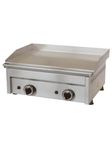 Fry top a gas da banco in acciaio inox - piastra liscia doppia - potenza 8000 W - cm 60x45x27,5h