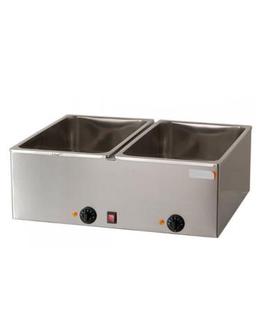 Bagnomaria elettrico da banco in acciaio inox - 2 vasche G/N 1/1 - mm L 690x540x300h