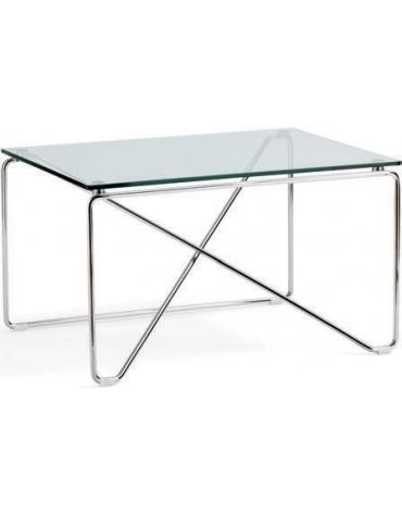 Tavolino attesa con piano in cristallo e struttura nera