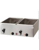 Bagnomaria elettrico da banco in acciaio inox - 2 vasche G/N 1/1 - mm L 690x540x250h