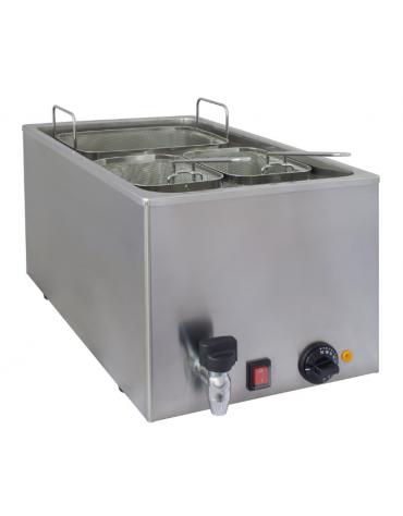 Cuocipasta elettrico da banco in acciaio inox -  con capacità 25 litri - mm 340x600x300h