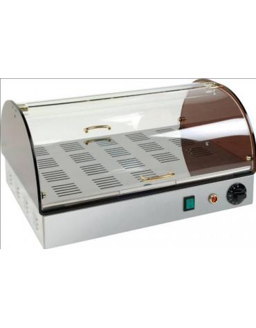 Vetrina riscaldata inox e plexiglass con 1 piano - mm 500x350x260h