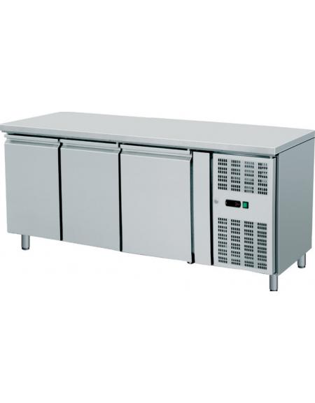 Banco Refrigerato Ventilato 3 cassetti in Acciaio Inox Aisi 304 - Temperatura -2° +8° C - cm 179,5x70x86h