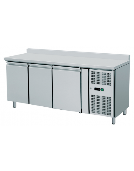 Banco Refrigerato Ventilato 3 cassetti con alzatina in Acciaio Inox Aisi 304 - Temp. -2° +8° C - cm 179,5x70x96h