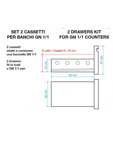 Kit 2 cassetti per tavoli refrigerati
