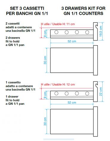 Kit 3 cassetti per tavoli refrigerati