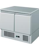 Saladette refrigerata statica, con 2 porte, piano in inox e temperatura + 2° C/ + 8° C - L 900 mm x P 700 mm x H 870 mm