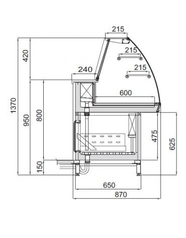 Vetrina fredda con cella da cm. 150