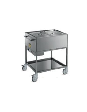 arrello termico bagnomaria 2 vasche - in acciaio inox 18/10 AISI 304 -  GN 1/1 - termostato digitale - cm 85x64x90h