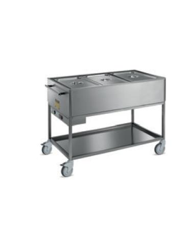 Carrello termico bagnomaria 3 vasche acciaio inox 18/10 AISI 304 con griglia di appoggio - GN 1/1 - cm 120x64x90h