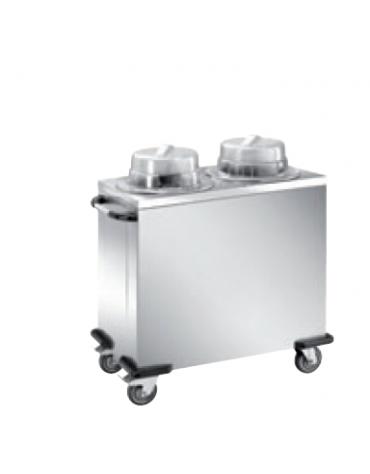 Distributore piatti neutro - 2 colonne regolabili - portata 100/120 piatti ø 18/28 - cm 93x48x106h