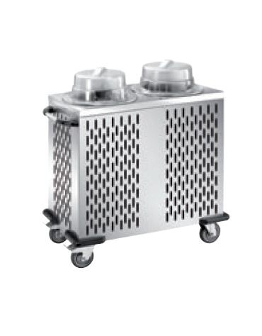 Distributore piatti refrigerabile - 2 colonne regolabili - portata 100/120 piatti ø 18/28 - cm 93x48x106h