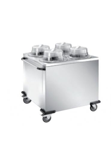Distributore piatti neutro - 4 colonne fisse - portata 200/240 piatti ø 16/21 - cm 93x89x106h