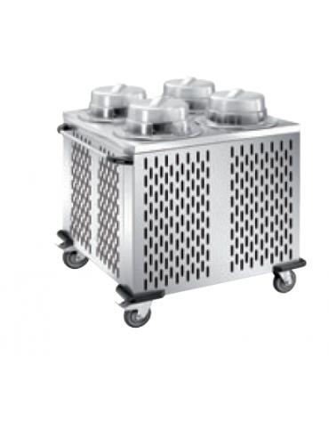 Distributore piatti refrigerabile - 4 colonne regolabili - portata 200/240 piatti ø 28/32 - cm 103x99x106h